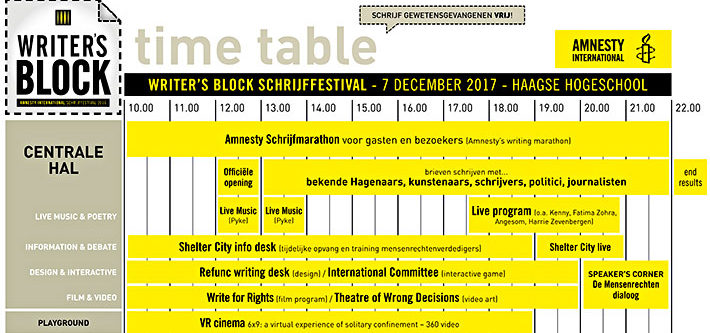 Time table Writer's Block Festival - Humanity House