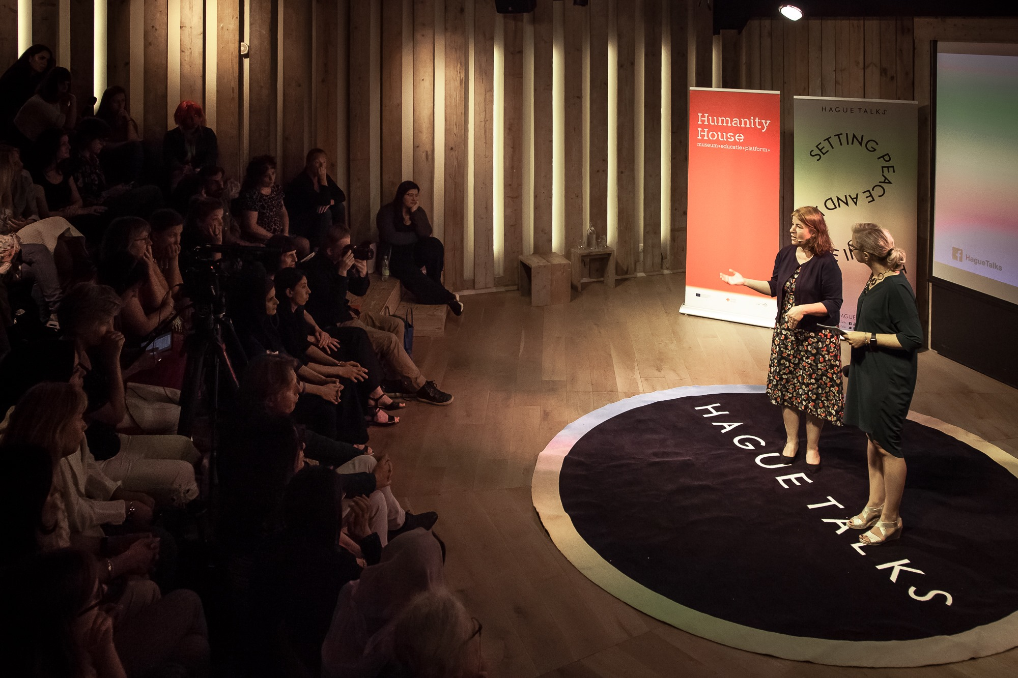 Behar Ali at HagueTalks. Five years on: How are women in the Yazidi community rebuilding after IS?'